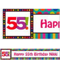 Birthday Dots & Stripes 55 Custom Banner 6ft