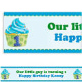 1st Birthday Blue Custom Banner 6ft