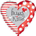 Foil Hugs & Kisses Valentines Day Balloon 18in