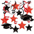 Red Graduation Swirl Decorations 30ct