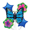 Foil Blue Butterfly Balloon Bouquet 5pc