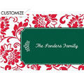 Red & Green Damask Border Custom Thank You Note