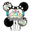 Foil Bright Congrats Grad Balloon Bouquet 5pc