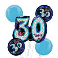 30th Birthday Balloon Bouquet 5pc - Blue Oh No!