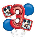 Mickey Mouse 3rd Birthday Balloon Bouquet 5pc