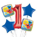 Sesame Street 1st Birthday Balloon Bouquet 5pc