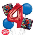 Spider-Man 4th Birthday Balloon Bouquet 5pc
