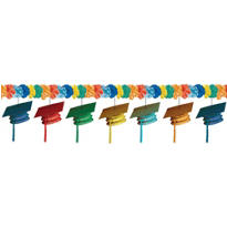 Cool Grad Cap Graduation Garland 10ft