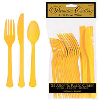Sunshine Yellow Premium Plastic Cutlery Set 24ct