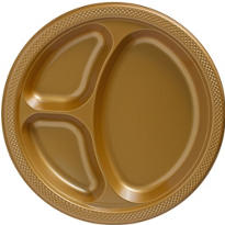 Gold Plastic Divided Dinner Plates 20ct