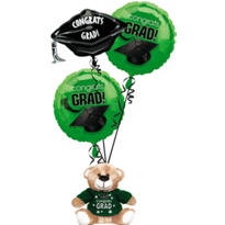Foil Green Graduation Balloon Bouquet 3pc with Bear