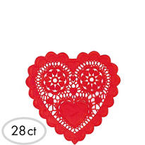 Red Heart Shaped Doilies 28ct