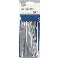 Silver Twist Ties 50ct