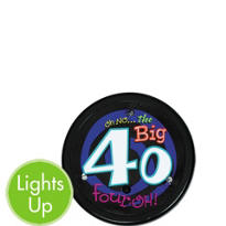 Light-Up Oh No 40th Birthday Button