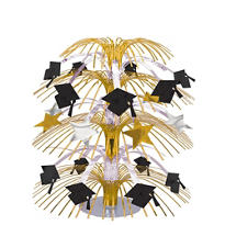 Black & Gold Graduation Cascade Centerpiece 18in