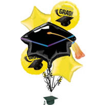 Foil Yellow Graduation Balloon Bouquet 5pc