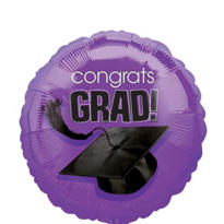 Foil Purple Congrats Grad Graduation Balloon 18 in