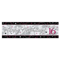 Sparkle Sweet 16 Metallic Giant Sign Banner 65in x 20in