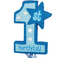 Pull String Blue 1st Birthday Pinata