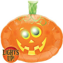 Foil Flashing Eyes Pumpkin Balloon 23in