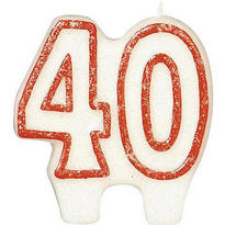 Number 40 Red Glitter Birthday Candle 3in