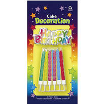Happy Birthday Cake Decoration with Candles 12ct