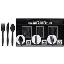 Black Cutlery Set 210pc