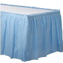 Pastel Blue Plastic Table Skirt