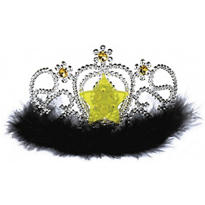 Light-Up Gold Star Marabou Tiara 3 1/2in x 6in