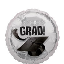 Silver Congrats Grad Graduation Balloon 18in