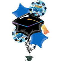 Foil Grad Spirit Graduation Balloon Bouquet 6pc