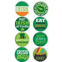 St. Patricks Day Party Buttons 8ct