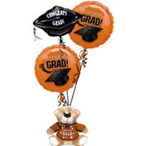Foil Orange Graduation Balloon Bouquet 3pc with Bear