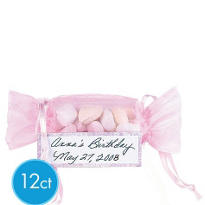Pink Organza Favor Bags with Cross 12ct