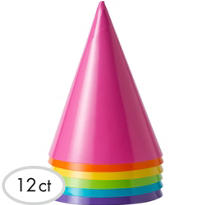 Bright Colored Party Hats 12ct