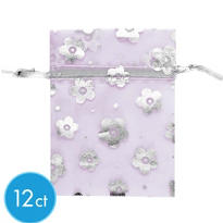 Purple Floral Organza Bags 12ct
