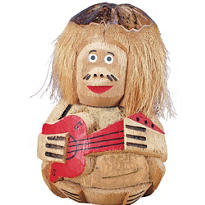 Coconut Guitar Man Decoration 10in