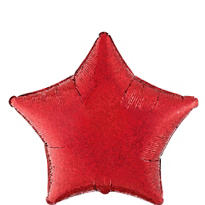 Foil Prismatic Red Star Balloon 19in