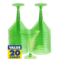 Transparent Green Plastic Martini Glasses 8oz 20ct