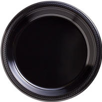 Black Plastic Dinner Plates 50ct