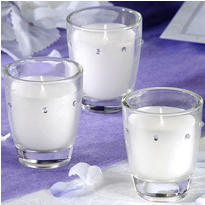 Rhinestone Candles Wedding Favor 3ct