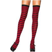 Adult Red and Black Striped Thigh High Stockings
