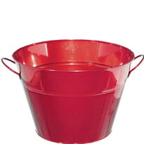 Red Metal Party Tub 18in