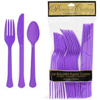 Purple Premium Plastic Cutlery Set 24ct