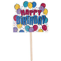 Balloon Party Happy Birthday Yard Sign 14in x 15in