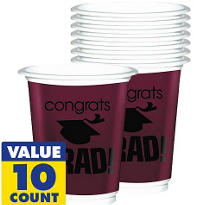 Berry Congrats Grad Plastic Graduation Cups 12oz 10ct