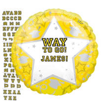 Foil Yellow Personalized Graduation Balloon 22in
