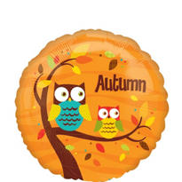 Foil Autumn Owls Balloon 18in