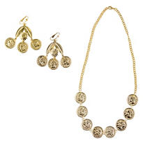 Gold Coin Necklace and Earrings Set
