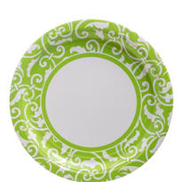 Kiwi Ornamental Scroll Lunch Plates 8ct
